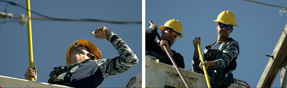 utility workers In bucket banner